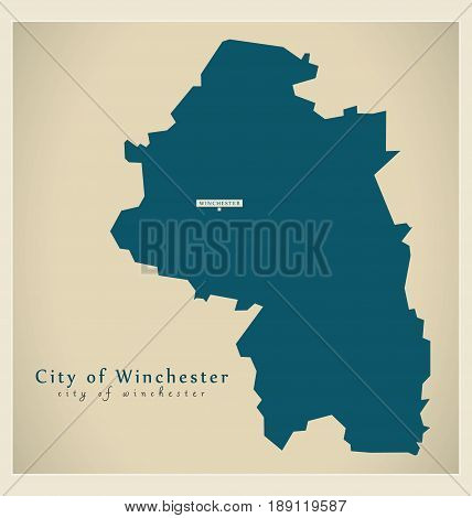 Modern Map - City of Winchester district UK illustration