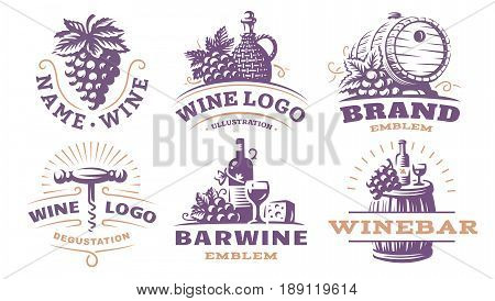 Wine set logo - vector illustrations, emblems design
