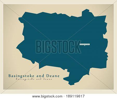 Modern Map - Basingstoke and Deane district UK illustration