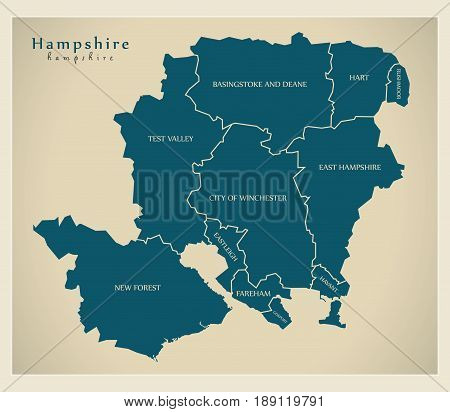 Modern Map - Hampshire county with district labels UK illustration