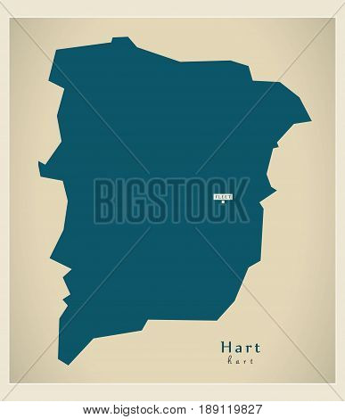 Modern Map - Hart district UK illustration