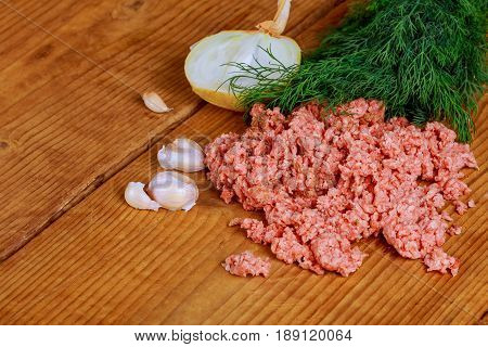 Closeup Of Minced Pork With Parsley