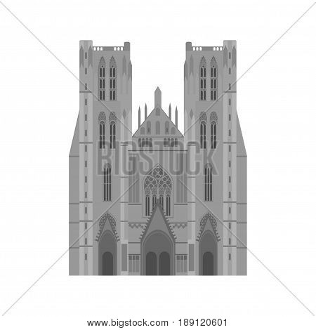 City sights. Brussels architecture landmark. Belgium country flat travel elements. Cathedral of St. Michael and St. Gudula.