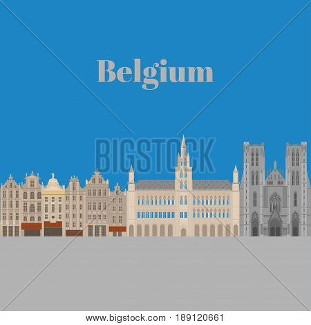 City sights. Brussels architecture landmark. Belgium country flat travel elements. Famous square Grand place. Cathedral of St. Michael and St. Gudula.