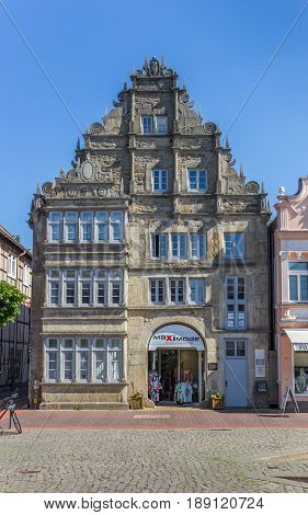STADTHAGEN, GERMANY - MAY 22, 2017: Shop in an old building at the market square of Stadthagen, Germany