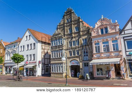 STADTHAGEN, GERMANY - MAY 22, 2017: Central market square with old buildings in Stadthagen, Germany