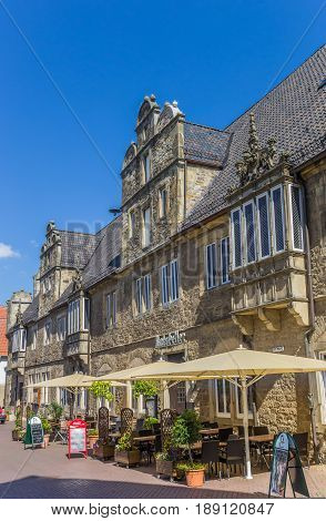 STADTHAGEN, GERMANY - MAY 22, 2017: Former town hall building, now restaurant in Stadthagen, Germany