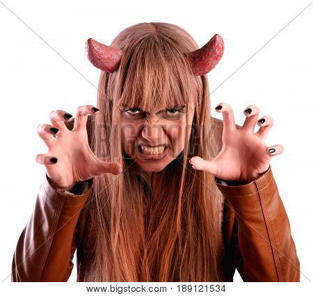 Girl frightens under the guise of the devil. Isolated on white background