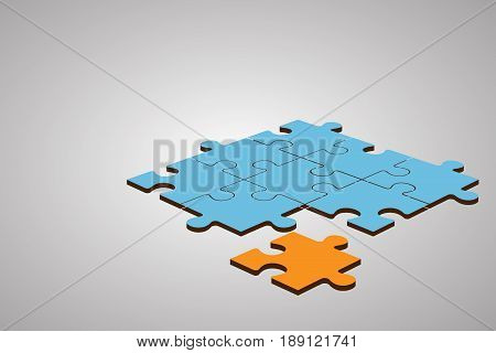 Business Leader and Teamwork Concept : Orange puzzle in mass of blue puzzles. (3D Illustration)