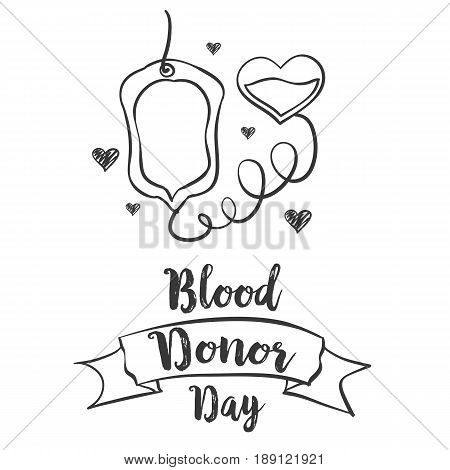Blood donor day hand draw collection stock vector art