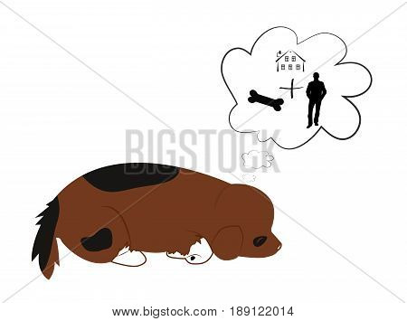The puppy sees a dream about the owner the house and the food. Vector cartoon illustration