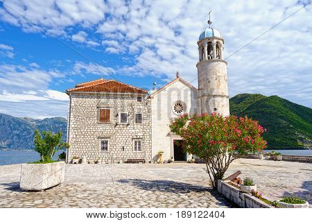 Church of Our Lady of the Rocks on island near town Perast Kotor Bay Montenegro