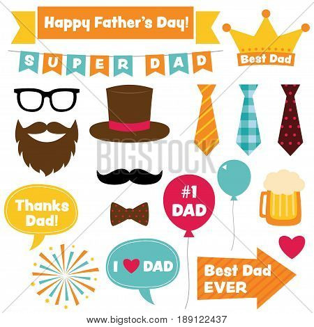 Father's Day design elements and photo booth props set