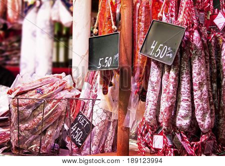 Meat on shopwindow at the european market