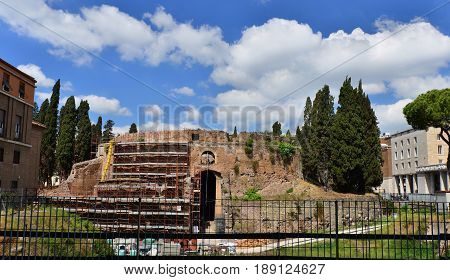 ROME, ITALY - APRIL 24: Ancient Mausoleum of Augustus under restoration APRIL 24, 2017 in Rome, Italy