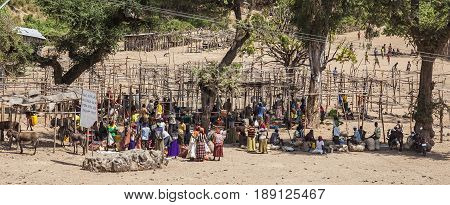 People From Konso Area Tribes At Local Village Market. Omo Valley. Ethiopia