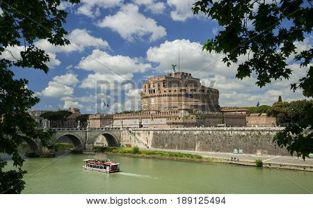 ROME, ITALY - APRIL 24: Castel Sant'Angelo (Castle of the Holy Angel) in Rome a very famous city landmark with Tiber River  APRIL 24, 2017 in Rome, Italy