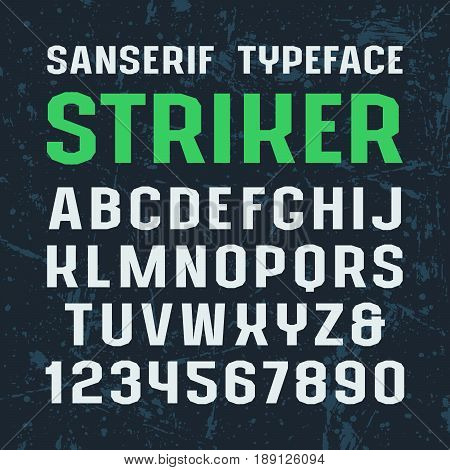 Sanserif font in sport style. Typeface design for titles and logos. Print on dark textured background