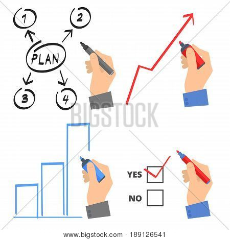 Hand with a pen drawing a growth arrow and increase graph to improve business. Businessman shows a business plan. Hand  write yes check vote on a voting paper. Flat vector concept illustration set.