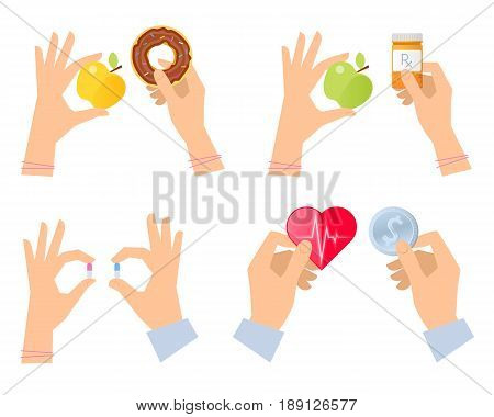 Hands are holding apple and a pills bottle, fresh fruit and harmful fastfood, heart with pulse and coin dollar. The choice between healthy and unhealthy lifestyle concept. Flat vector illustration set