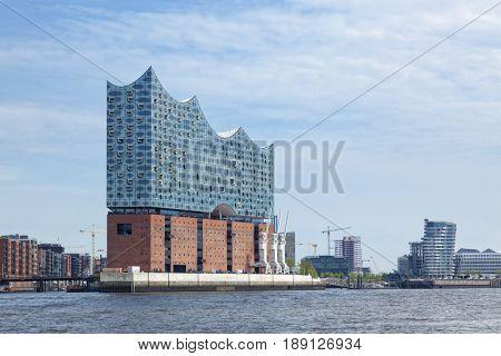 Hamburg, Germany - May 17, 2017: The Elbe Philharmonic Hall or Elbphilharmonie, concert hall at HafenCity quarter of Hamburg