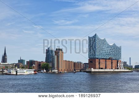 Hamburg, Germany - May 17, 2017: The Elbe Philharmonic Hall or Elbphilharmonie, concert hall in the HafenCity quarter of Hamburg
