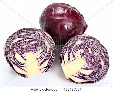Two red cabbage on a white background.