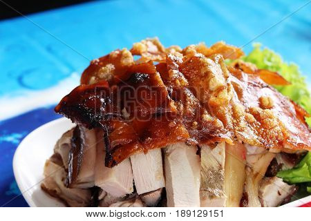 roasted pig is tasty on the table