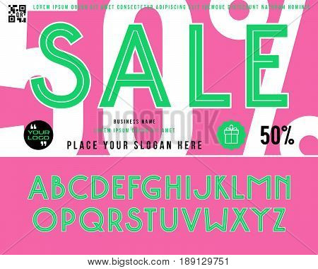 Decorative sanserif font with contours. Discount voucher template. Color print on pink background