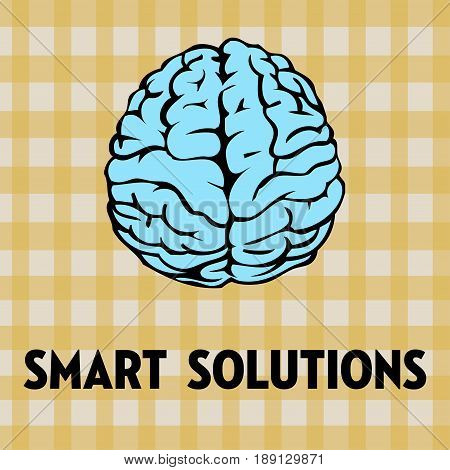 Abstract colorful illustration with a blue brain and the text smart solutions written with black capital letters