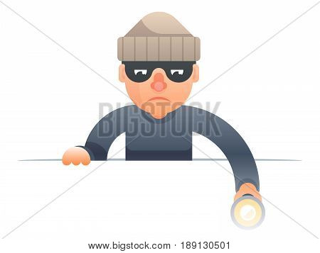 evil thief with flashlight peeping out of cartoon characters set flat design isolated vector illustration