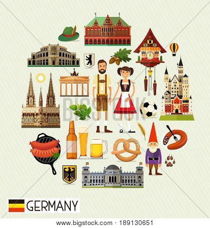 Vector Set of Various Germany Icons on a Circle Shape. Germany Travel Icons. Vector Illustration.