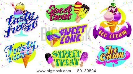 Vector flat collection of ice cream truck, store, shop and van logo design with lettering, hand written font and ice cream cone and eskimo icon isolated on white background. Tasty  dessert brand mark.