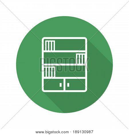 Bookcase flat linear long shadow icon. Bookshelf. Vector line symbol