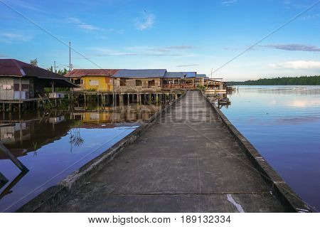 Weston,Beaufort,Sabah-May 28,2017:Weston famous floating village in Weston,Beaufort,Sabah.The visitors,who come here,can experience a unique connectivity through the village by way of interlined walks