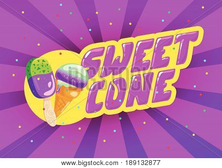 Vector flat ice cream shop, store logo isolated on yellow background. Cartoon style. Ice cream store, truck emblem with sweet cone and eskimo, confetti. Badge, sticker, package design element.