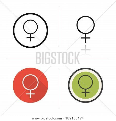Women gender symbol icon. Flat design, linear and color styles. Ladies WC door sign. Isolated vector illustrations
