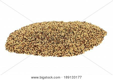 Popular as Tri color (Tri-Color Tricolor) Organic Quinoa seeds (white Black Red Quinoa seeds) spilled on pile isolated over white background