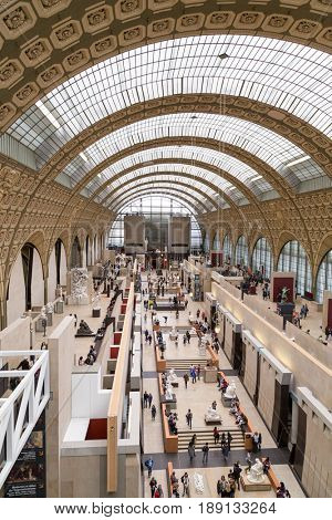 Paris, France, March 28 2017: The interior of musee d'orsay. It is housed in the former Gare d'Orsay, a Beaux-Arts railway station built between 1898 and 1900