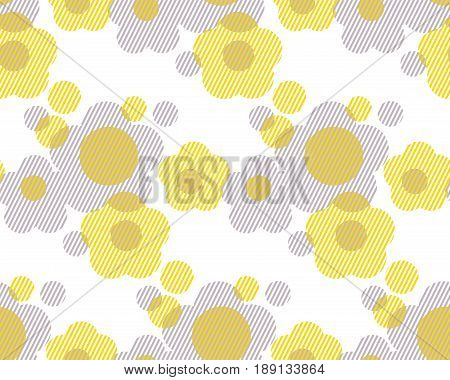 Vector illustration on concept geometry shape flowers for surface design, header, fabric. Laconic minimalist style seamless pattern. Concept two-color repeatable motif.