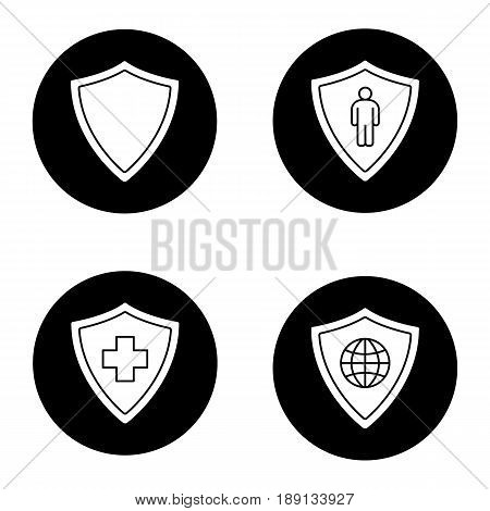 Protection shields icons set. Medical insurance, bodyguard, network security. Vector white silhouettes illustrations in black circles