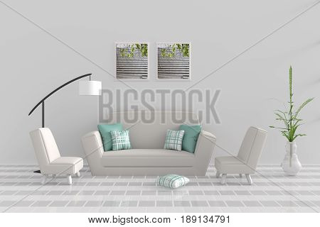 Living room in relax day. Decor with sofa, two armchair, green-white pillow, white lamp, tree in vase, grid cement wall and tile floor. The sun shines through the window into the shadows. 3D render.