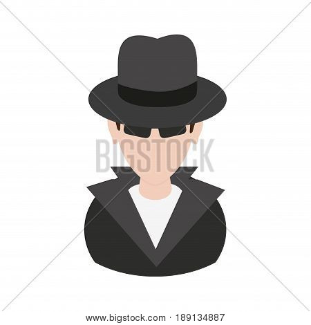 suspicious looking man with sunglasses criminal icon image vector illustration design