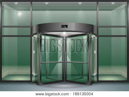 The facade of a modern shopping center or station an airport with revolving doors. Vector graphics