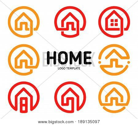 Home logos outline style vector collection. Real estate business icons set. House isolated icon. Apartment creative simple logotype