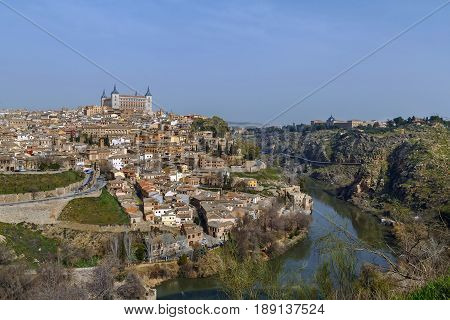 View of Toledo with Tagus river Spain