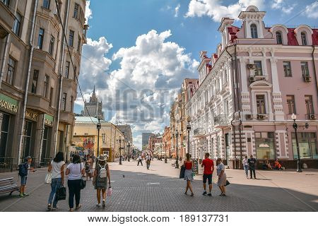 Russia, Moscow, Mary 23, 2017. Moscow streets, people walking on Old Arbat
