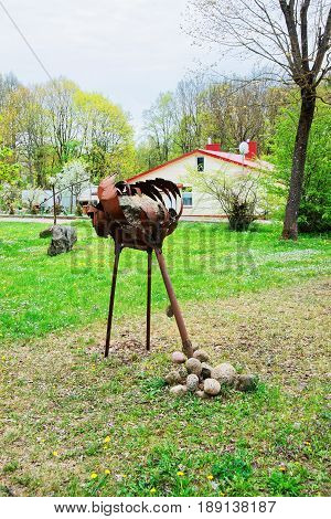 Vilnius, Lithuania - September 3, 2014: Ostrich Iron figure in Traku Voke public park in Vilnius Lithuania.