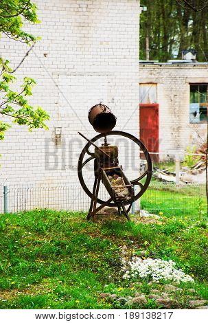 Vilnius, Lithuania - September 3, 2014: Iron figure of Traku Voke public park in Vilnius Lithuania