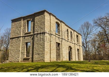 The old ruins at Hermitage in Ontario during a warm spring day.
